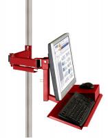 Monitorträger mit Tastatur- und Mausfläche leitfähig 75 / Rubinrot RAL 3003