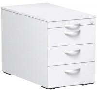 Rollcontainer mit Schublade aus Stahl, HxBxT 566 x 430 x 800 mm 1 Utensilienschub, 3 Schubfächer / Weiß