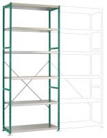 Mittelschwere Stahlfachboden Grundregale PLANAFIX Premium, Höhe 2500 mm, einseitige Nutzung 500 / Graugrün HF 0001