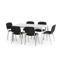 Sitzgruppe mit 4 oder 6 gepolsterten Stapelstühlen 6 gepolsterte Stapelstühle, Schwarz