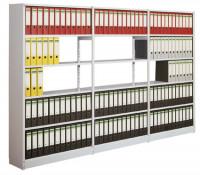 Bürosteck-Grundregal Flex, zur beidseitigen Nutzung, Höhe 2250 mm, 6 Ordnerhöhen 990 / 600