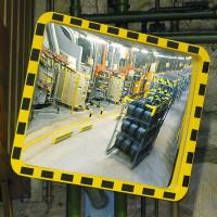 Industriespiegel in Kreis-Form mit gelbem Kunsstoffrahmen 400 / 600