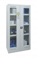 Chemikalienschrank, zweiflügliger Sichtfenstertür Lichtgrau RAL 7035