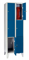 Schließfachschrank - die Praktischen, Vollblechtüren, 16 Abteile, Abteilbreite 300 mm, mit Sockel Wasserblau RAL 5021