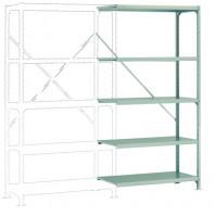 Mittelschwere Fachboden Anbauregale PLANAFIX Standard mit Stahlböden, einseitige Nutzung 500 / 2000