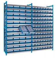 Steck-Grundregal mit Regalkästen - geschlossen Lichtblau RAL 5012 / 64xGr.7 / 16xGr.8