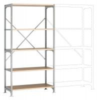 Mittelschwere Fachboden Grundregale PLANAFIX Standard mit Holzböden, einseitige Nutzung 500 / 2000