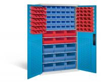 Großraumschrank mit 62 roten und 44 blauen Sichtlagerkästen, HxBxT 1950 x 1100 x 535 mm Lichtgrau RAL 7035 / Lichtblau RAL 5012