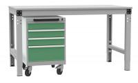 Schubfachschrank BASETEC mobil, 3x 100, 1x 200 mm Resedagrün RAL 6011 / Resedagrün RAL 6011