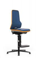 Arbeitsstuhl Neon mit Bodengleitern und Aufstiegshilfe Stoffpolster / Blau/Orange