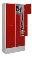 Z-Garderobenschrank - die Bewährten, mit 4 Abteilen Reinweiß RAL 9010 / Zylinderschloss