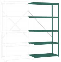 Mittelschwere Fachboden Anbauregale PLANAFIX Premium Color, Höhe 2000 mm, einseitige Nutzung 500 / Graugrün HF 0001