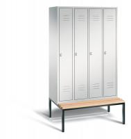 C+P Garderobenschrank, die Klassischen, mit unterbauter Sitzbank, Abteilbreite 300 mm, 4 Abteile Lichtgrau RAL 7035 / Lichtgrau RAL 7035