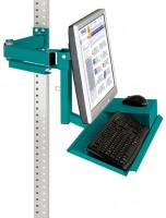 Monitorträger mit Tastatur- und Mausfläche Wasserblau RAL 5021 / 75