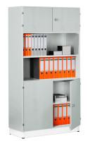 Modufix Kombi-Büroschrank Grundelement mit Türen/Böden Lichtgrau
