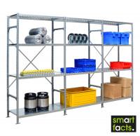 Komplett-Fachbodenregal SMARTFACTS, Grundregal mit Anbauregalen, Höhe 2000 mm 500 / 12