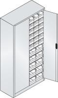 Großraumschrank mit 30 roten und 20 blauen Sichtlagerkästen, HxBxT 1980 x 1000 x 420 mm Lichtgrau RAL 7035 / Wasserblau RAL 5021