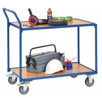 Tischwagen mit 2 Ladeflächen und hochstehendem Schiebegriff 500 / 850