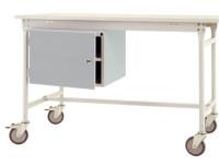 Komplett-Gehäuse BASIS mobil mit Tür, Nutzhöhe 300 mm Alusilber ähnlich RAL 9006 / links