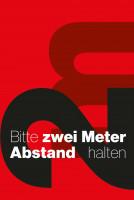 """Schmutzfangmatte """"Bitte 2 m Abstand halten"""" mit rotem Hintergrund, Hochformat Design 3"""