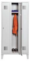 Garderobenschrank mit modernem Lochbild, 4 Abteile, mit Füßen Lichtgrau RAL 7035