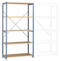 Schwere Holzfachboden Grundregale PLANAFIX Premium, Höhe 2500 mm, beidseitige Nutzung 500 / Graugrün HF 0001