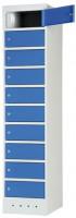 Laptopschrank, HxBxT 1800 x 400 x 500 mm mit Stromversorgung / Lichtblau RAL 5012