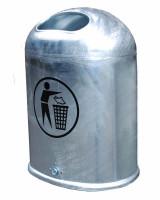 Ovaler Abfallbehälter mit Bodenentleerung Verzinkt