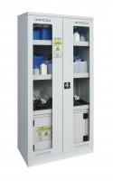 Chemikalienschrank mit Sicherheitsbox Typ 30 Lichtgrau RAL 7035 / Glasausschnitt, zweiflüglig