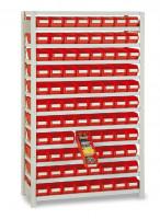 Steck-Grundregale mit Regalkästen, HxBxT 1790x1000x500 mm 44xGr.13 / Rot