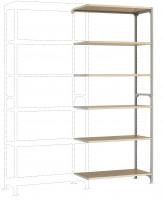 Leichte Fachboden Anbauregale PLANAFIX Standard mit Holzböden, beidseitige Nutzung 800 / 2500