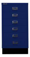 Schubladenschrank mit 6 Schubladen für DIN A3 Oxfordblau / mit Sockel