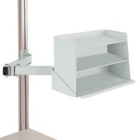 Sichtboxen-Regal-Halter-Element Lichtgrau RAL 7035 / Doppelgelenk