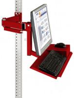 Monitorträger mit Tastatur- und Mausfläche Rubinrot RAL 3003 / 75