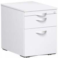 Rollcontainer mit Schublade aus Kunststoff, HxBxT 566 x 430 x 600 mm Weiß / 1 Utensilienschub, 1 Schubfach, 1 Hängeregister