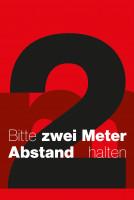 """Schmutzfangmatte """"Bitte 2 m Abstand halten"""" mit rotem Hintergrund, Hochformat Design 1"""