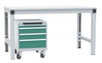 Schubfachschrank BASETEC mobil, 1 x 50 , 2 x 100 , 1 x 150 Graugrün HF 0001