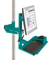 Ergo-Monitorträger mit Tastatur- und Mausfläche leitfähig 75 / Wasserblau RAL 5021