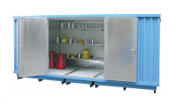 Gefahrstoff-Container, montierte Anlieferung, BxTxH 6075 x 2875 x 2375-2565 mm passive Lagerung / Verzinkt