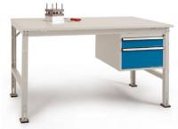 Komplettarbeitstisch UNIVERSAL Standard mit Schubfach-Unterbau 1x 100, 1x 200 mm, Multiplex 22 mm 1500 / Lichtgrau RAL 7035