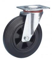 Lenkrolle auf Vollgummi-Bereifung 200 / Kunststoff