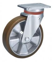 Lenkrolle auf Polyurethan-Bereifung 125 / Aluminium