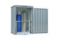 Gasflaschencontainer 1-flügelig, BxTxH 1420 x 1490 x 2250 mm ohne Boden / Signalgelb RAL 1003