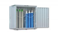 Gasflaschencontainer 2-flügelig, BxTxH 2100 x 1140 x 2250 mm Grasgrün RAL 6010 / mit Gitterrostboden