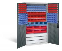 Großraumschrank mit Schubladenblock, 67 rote & 75 blaue Sichtlagerkästen, HxBxT 1950x1100x535 mm Lichtgrau RAL 7035 / Anthrazit RAL 7016