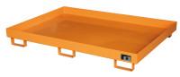 Auffangwanne für Palettenregale, zur Fasslagerung, LxBxH 2150 x 1300 x 225 mm Ohne Gitterrost / Feuerrot RAL 3000