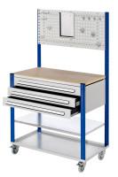 Mobile Arbeitsstation mit Lochplatte Enzianblau RAL 5010