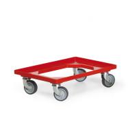 Kasten-Roller für Euro-Normkästen, L x B 607 x 407 mm, Tragkraft 250 kg Rot