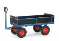 Handpritschenwagen mit Bordwänden, Luft- oder Vollgummibereifung 1250 / Vollgummiräder D= 400 mm / 1600 x 900