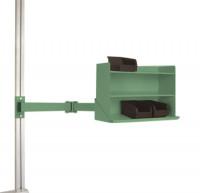 Sichtboxen-Regal-Halter-Element leitfähig Doppelgelenk / Resedagrün RAL 6011